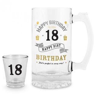 18th Birthday Beer Stein and Shot Set