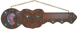 Maori Hand Carved 21st Key with Photo and Mask