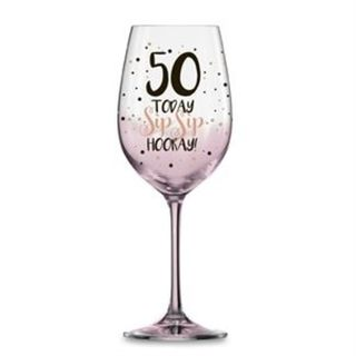 50 Today Wine Glass