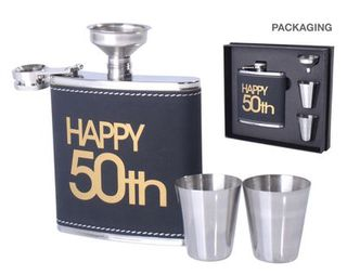 50th Hip Flask Set