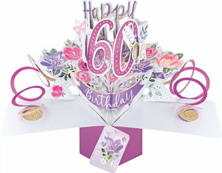 60 Pop Up Card Pink Flowers