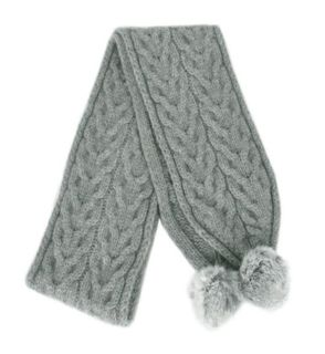 Cable Scarf with Pom Poms - Silver