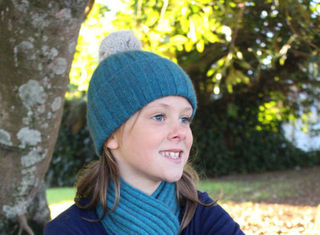 Cottontail Possum Fur Beanie Teal