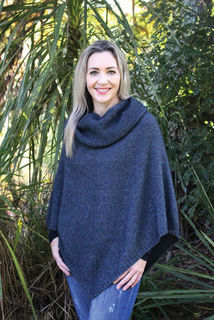 Cowl Neck Poncho Charcoal