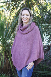 Cowl Neck Poncho Pink