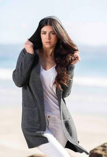 Hooded Long Line Cardigan Grey