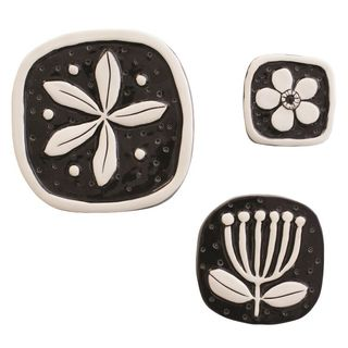 Jenz Blossom Tile Set Black and White BLB3