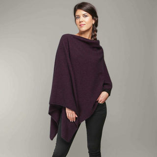 Koru Possum Merino Two Way Poncho Grape
