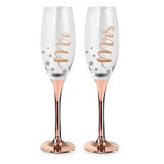Mr and Mrs Rose Gold Champagne Glass Set