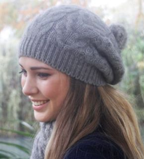 Possum Merino Cable Hat with Pompom Silver