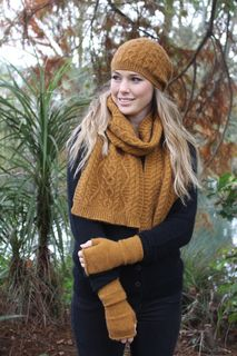Possum Merino Cable Scarf Opito Gold
