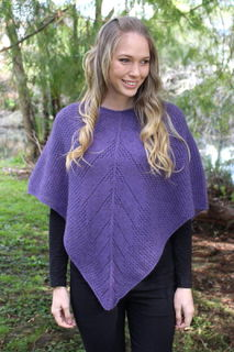 Possum Merino Lace Poncho Heather