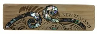 Recycled Wood Paua Koru