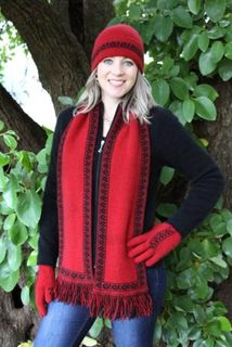 Red Koru Scarf Possum Merino