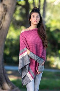 Rose Colour Block Poncho