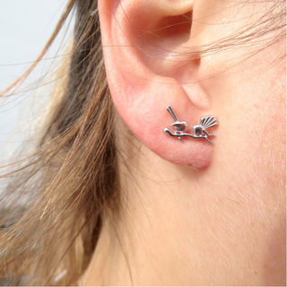 Sterling Silver Fantail Stud Earrings