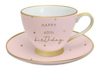 60th Birthday Tea Cup and Saucer