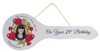 21st Mirror Key with Red Hearts
