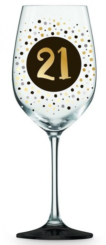 21 Wine Glass Black and Gold