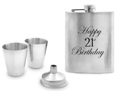 21st Stainless Steel Hip Flask Set