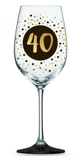 40 Wine Glass Black and Gold