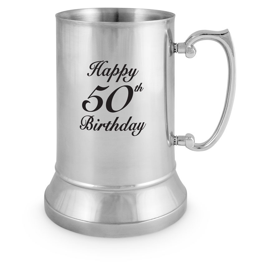 50th Birthday Stainless Steel Tankard