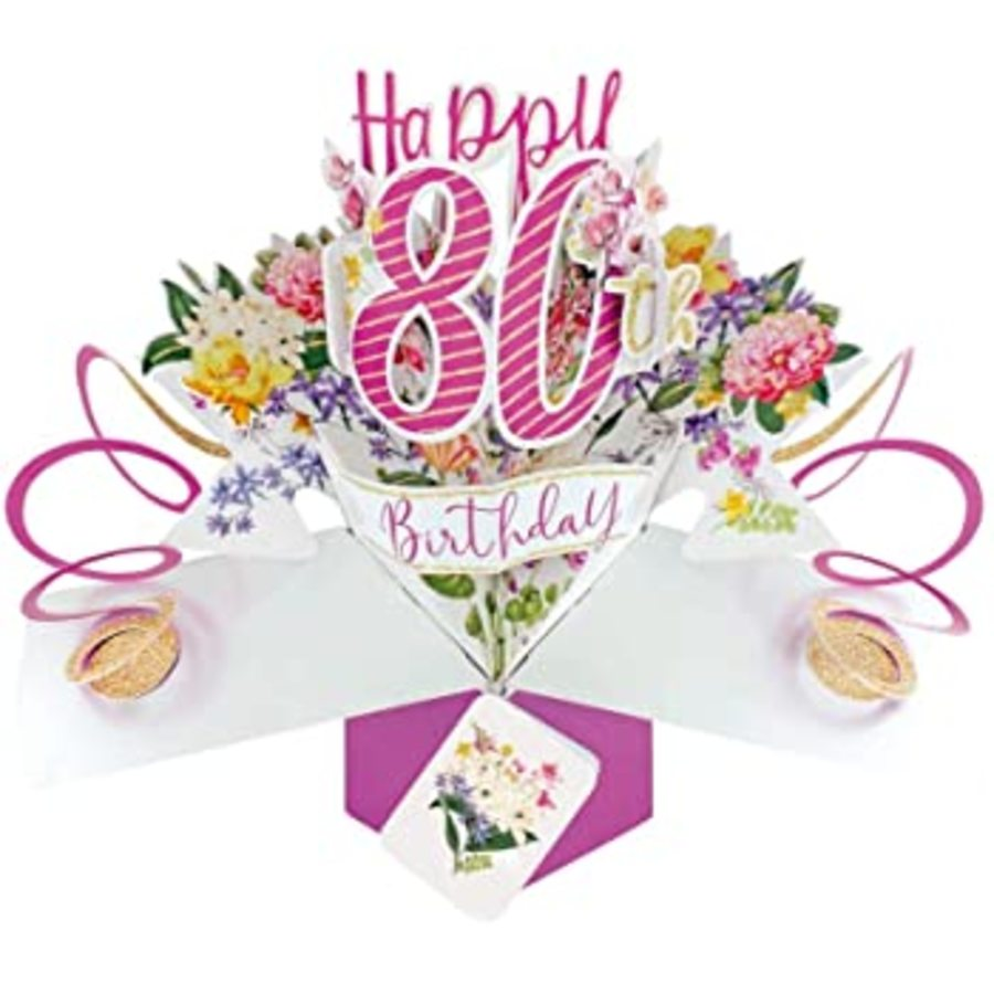80 Pop Up Card Pink Flowers