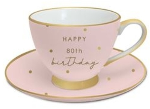 80th Birthday Tea Cup and Saucer