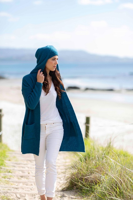 Hooded Long Line Cardigan Pacific