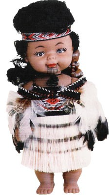 Maori Doll with Baby 20cm