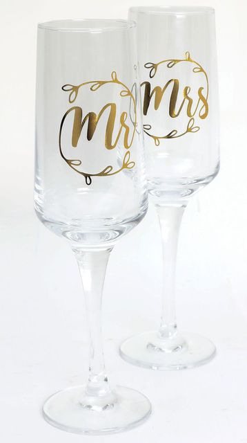 Mr and Mrs Champagne Flute Wedding Glasses