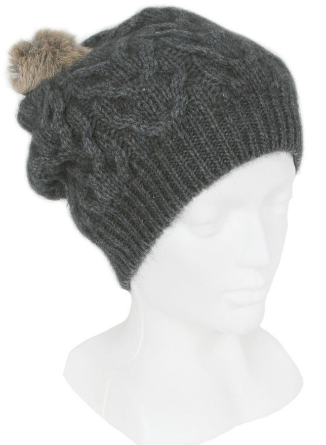Possum Merino Cable Hat Charcoal with Pompom
