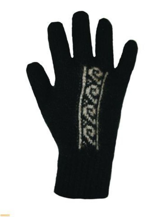 Possum Merino Gloves Black Koru