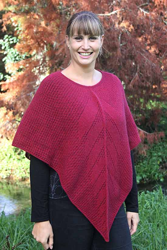 Possum Merino Lace Poncho Raspberry