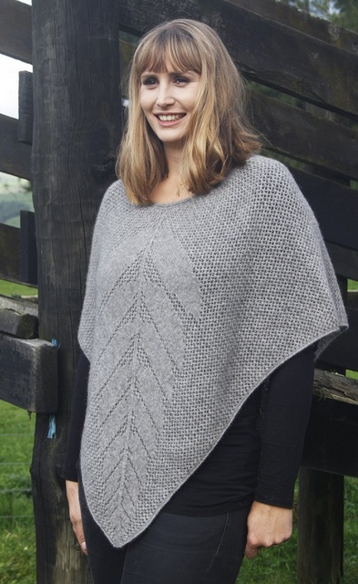 Possum and Merino Lace Poncho Silver