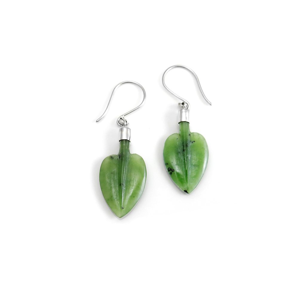 Pounamu Pohutukawa Leaf Earrings Nick Von K