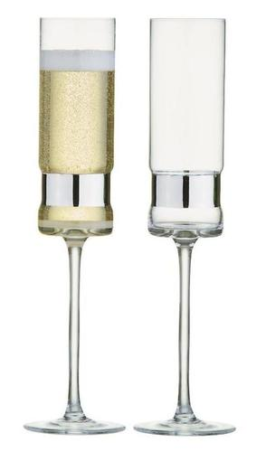 Soho Champagne Flutes Set of 2 Silver