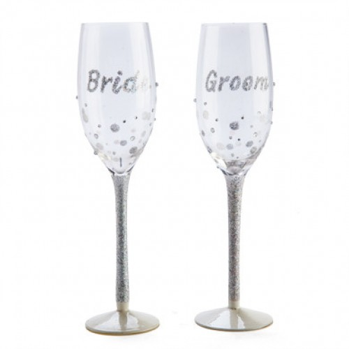 Sparkle Wedding Bride and Groom Glasses