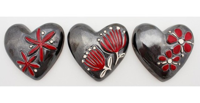 Jenz Bloom Hearts Pewter - Set of 3